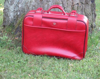 Red Vintage Suitcase, Retro Suitcase, Red Weekend Case, 39 x 55 cm / 15,3'' x 21,6'' Luggage, Red Bag @ 115