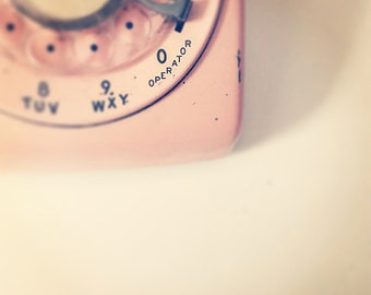 Pink Telephone Photo, Pink Dial Phone, 5x5 Unframed