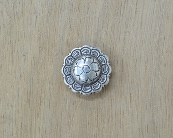 """Antique Silver Round Floral Western Concho 1 1/4"""" 36743"""