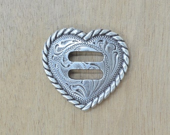 """Antique Silver Heart Rope Edge Slotted Concho 1 1/2"""" 36741"""