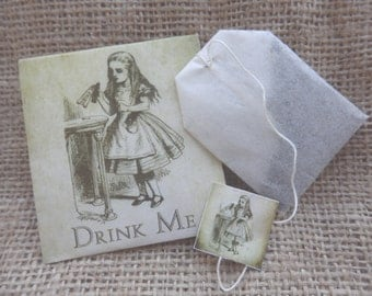 Wedding favors. Alice in Wonderland wedding favors. Teabag wedding favours.