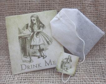 Wedding favors. Alice in Wonderland wedding favors. Teabag wedding favours.