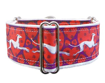 Hounds & Hearts adjustable martingale collar, greyhound collar, whippet collar, satin lining. Made to order.