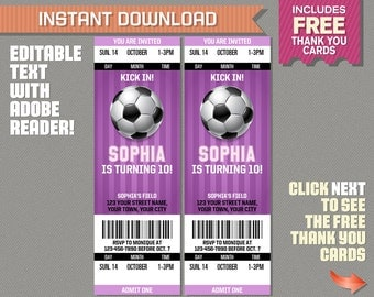 Girl Soccer Party Ticket Invitation with FREE Thank you Card! - Girls Soccer Birthday  - Edit and print with Adobe Reader