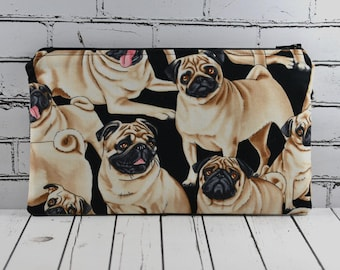 Pug Pencil Case, Cute Dog Zip Pouch