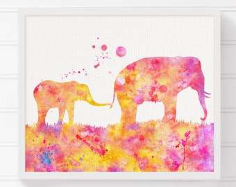 Mom and Baby Elephant, Watercolor Elephant, Elephant Art Print, Nursery Wall Art, Childrens Room Decor, Kids Room Decor, Baby Nursery Art
