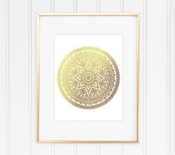 Mandala Wall Decor gold mandala print mandala art mandala wall decor mandala