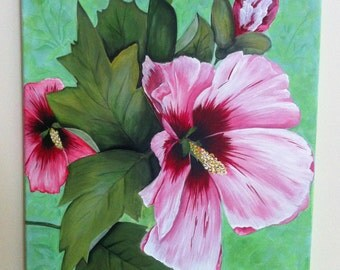 Rose of Sharon flower, acrylic painting on 16 x 20 canvas