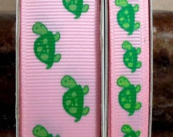 "2 Yards 3/8"" or 7/8"" Green Turtles Print on Pink Grosgrain Ribbon - US DESIGNER"
