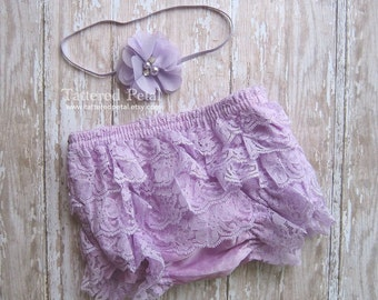 Lavender bloomer, lavender diaper cover, purple bloomer, lace bloomer, ruffle bloomers, baby bloomer, lace diaper cover, newborn photo prop
