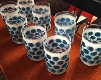 Light Blue Frosted Blueberry Glasses (Set of 8)
