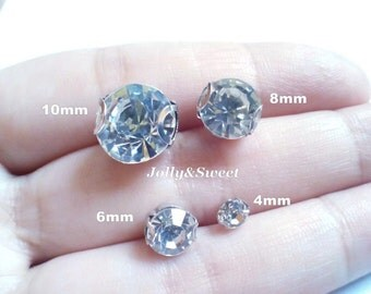 sew on rhinestones glass crystals loose beads 4mm 6mm 8mm 10mm 2D claws flatbacks diamante multifaceted clear for sash garment embellishment