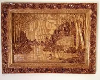 Cabin Wall Decor, Wood Carving Wall Art, Wood Wall Art, Cabin in the Wood Wall Hanging, Carved Wood Wall Art, Personalized Wood Carving Art