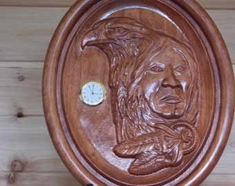 "Native American Shaman Wall Clock ~ WOOD WALL ART ~ Shaman Wood Wall Clock ~ 9"" x 7"" x 1"" Cherry Wood ~ 3D Wood Carving ~ Southwestern decor"