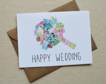 Wedding Card- Watercolor Bouquet Card- Happy Wedding Card- Congratulations Card- Bouquet Card