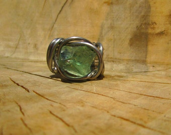 Green Glass Nugget Ring