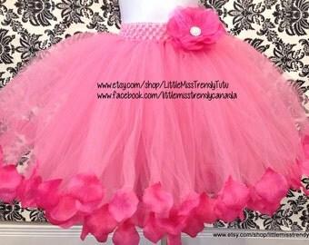 Long Pink Tutu Skirt with Pink petals, Pink Tutu, Long Flower Girl Tutu, Pink Long Tutu, Pink Tutu Skirt,Petal Trim Pink Tutu, Flower Tutu