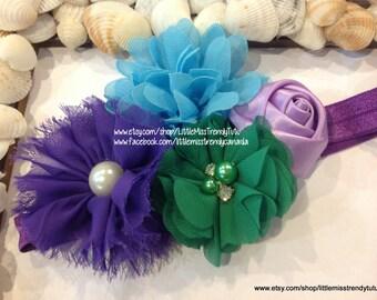 Little Mermaid Headband, Green Lilac Turquoise Headband, Girls Headband, Flower Headband, Headband for Girls, Ariel Headband,