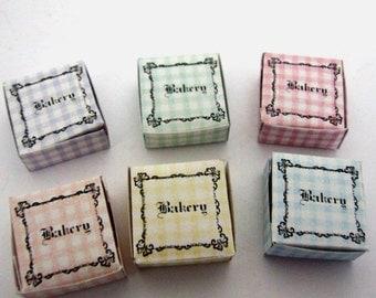 "Cake Boxes ~ 4pk Check ""Bakery""  ~ Bakery Shop ~ 12th Dolls House Miniature"