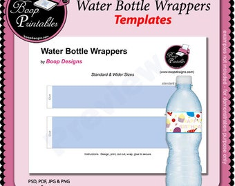 Water Bottle Wrapper TEMPLATE by Boop Printables
