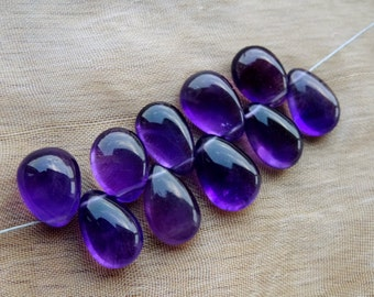 6 pcs 11-13 mm Amethyst  smooth Pears-AAA+ qualitty