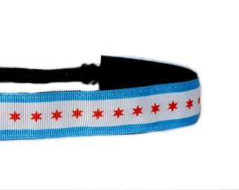 Women and Girls Athletic Non Slip Adjustable Headband in Sporty Chicago Flag 7/8 inch