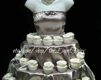 SILVER Couture Cupcake Stand for weddings, showers, birthday parties