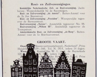 Amsterdam lino print, one-of-a-kind, canal houses hand-printed onto page from 1914 tourist guide, sailings. Signed, unframed.