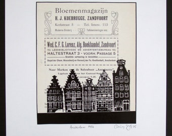 Amsterdam lino print, one-of-a-kind, canal houses hand-printed onto Zandvoort advertisements from 1914 tourist guide. Signed, unframed.