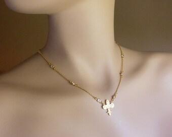 Fleur de Lis and Cubic Zirconia CZ 18k Gold / Sterling Silver Station Necklace, Custom Length