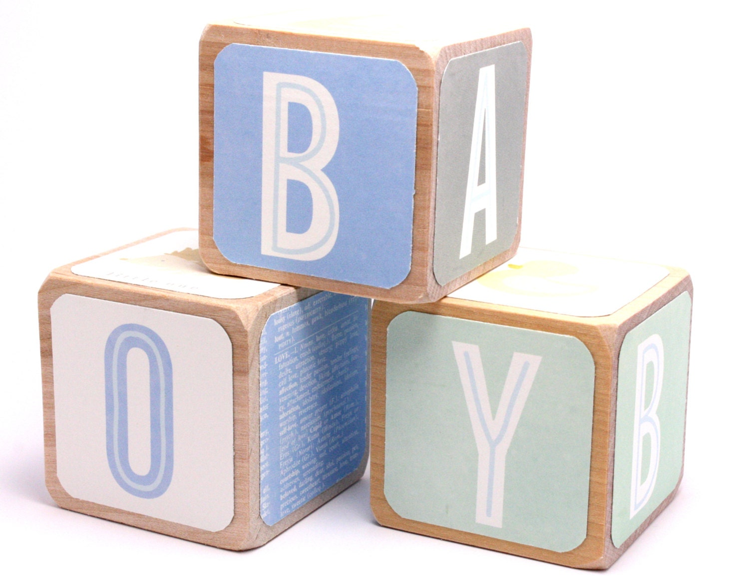 baby boy blue nursery wooden baby blocks forest animals