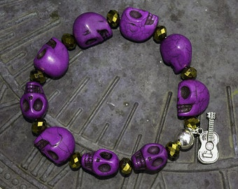 Large Purple Magnesite Skull with Copper Czech Crystal - Country Music Inspired