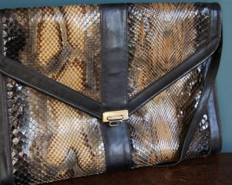 Fabulous REAL PYTHON LEATHER vintage clutch Snakeskin Shoulder Bag Adjustable Strap