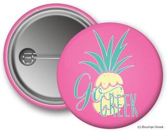NPC Panhellenic Pineapple Go Greek Sorority Button
