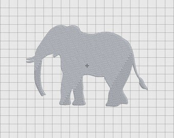 Elephant Profile Silhouette Embroidery Design in 2x2 3x3 4x4 and 5x7 Sizes