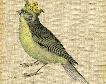 Clipart/Vintage Image/Digital Design/Green Bird with Crown/Decoupage/Collage/Crafts - INSTANT DOWNLOAD