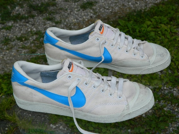 1980 NIKE Tennis Shoes Style JD White Canvas with