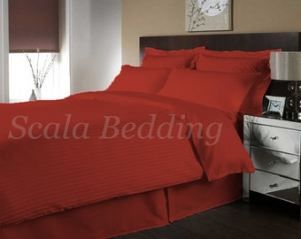 100% Egyptian Cotton Bedding Full/Queen Striped Duvet Cover & Shams Set Burgandy