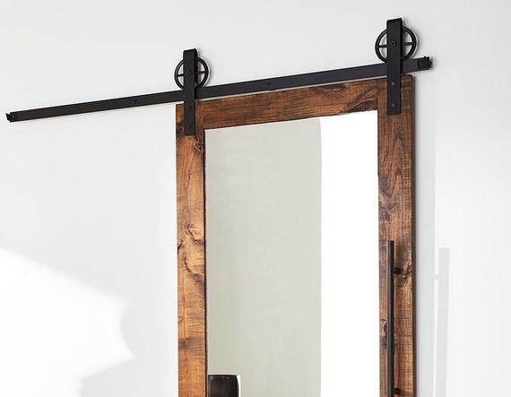 Modern mirrored barn door from thewhiteshanty on etsy studio for Mirrored barn door