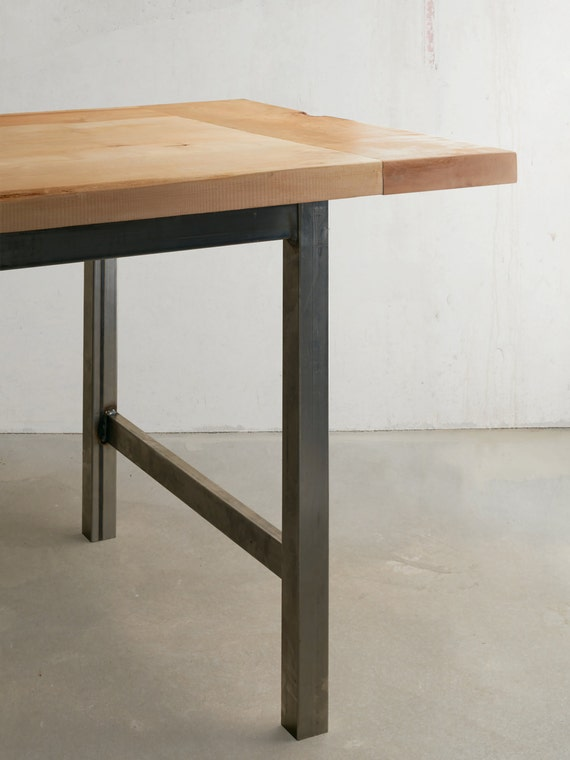 industrial modern solid maple top dining table with metal base. Black Bedroom Furniture Sets. Home Design Ideas
