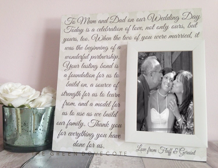 Parent Wedding Gift Mom And Dad Wedding Sign by TheGreenDovecote