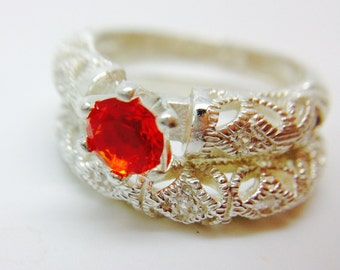 Amazing Mexican Fire Opal Engagement Ring Set made on Sterling Silver
