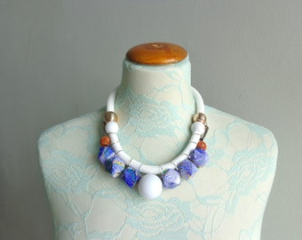 Purple colorful rope necklace white