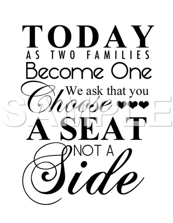 Wedding Sign Choose A Seat Not A Side Printable 8x10 5x7