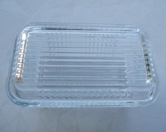 Vintage Pasabahce Ribbed Clear Glass Refrigerator Dish with Lid