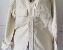 Northern Traders Soft Pastel Chamois Shirts Off White Cream Warm Shirt Button Front