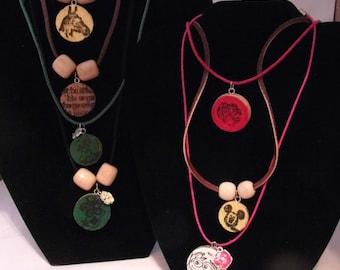 Stamped Wine Cork Pendants both sides(Yogi, Flintstones,horses,quotes, etc.)Buy 1 necklace, get a pendant FREE