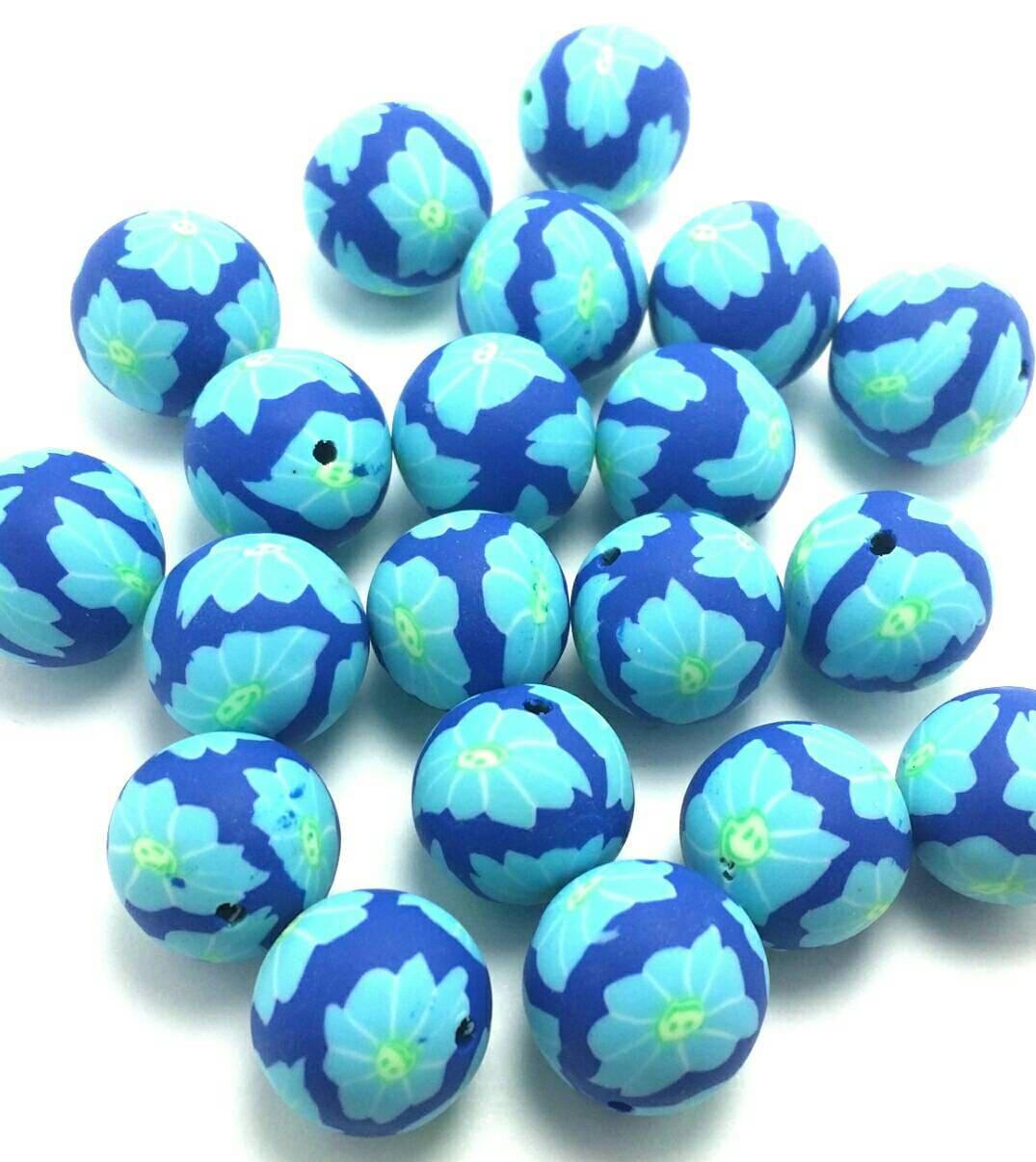 30 blue polymer clay 14mm bulk 5 1379