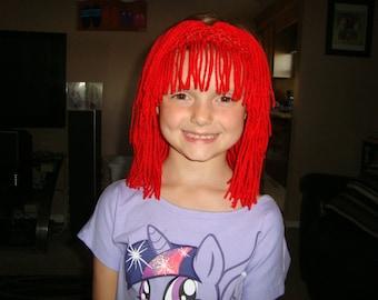 Strawberry Shortcake/Raggedy Ann inspired Wig Headband, Great for Halloween, Birthdays, Christmas, and Dress up