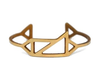 Triangles Cuff in Brass